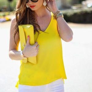 Topshop neon yellow  tank top v neck